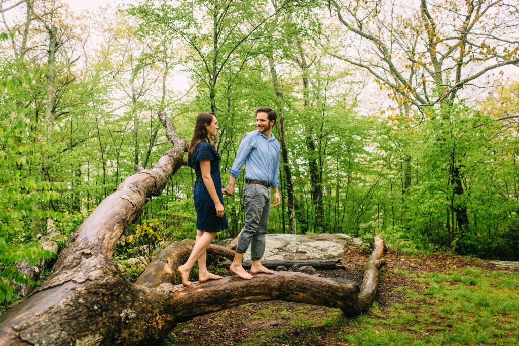 Cold Mountain Engagement Coupe holding hands standing on tree