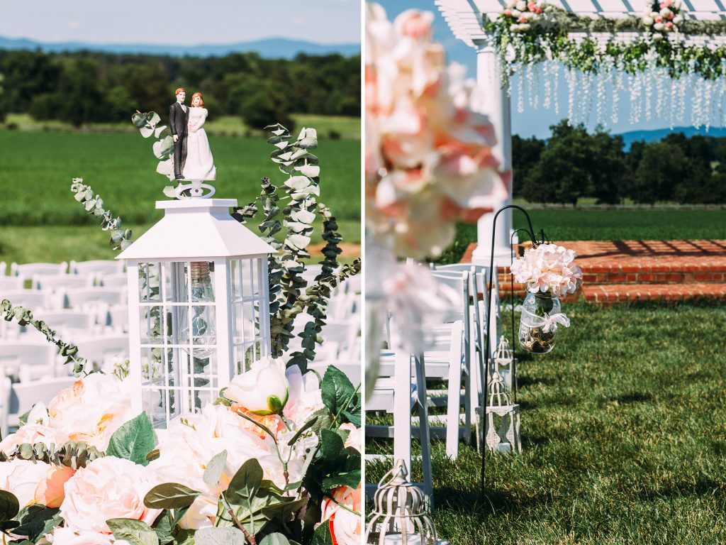 Columns at six penny farms wedding